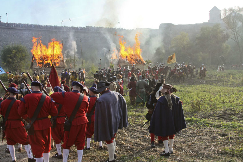 Battle Battlefield Burning Flame Historical Reconstruction History Large Group Of People Leisure Activity Men Old Weapon Old Weapons Outdoors People Real People Reconstruction Group Smoke - Physical Structure Soldiers Ukraine Vintage XVII Century