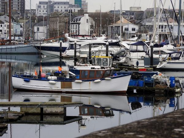 Boats Calm Colour Colourful Dull Early Morning Fishing Fishing Boat Grey Grey Sky Harbour Harbour View Nature Nature_collection Plymouth Quiet Reflection Reflection_collection Reflections Sea Still Suttonharbour Tranquil Scene Tranquility