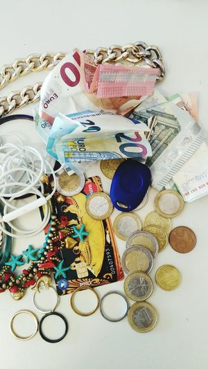 Large Group Of Objects Close-up Day Variation No People Money Collection Money Key Euro Objects When You Arrive At Home Inside My Pockets Objects From My Pockets At Home Arriving At Home Earring