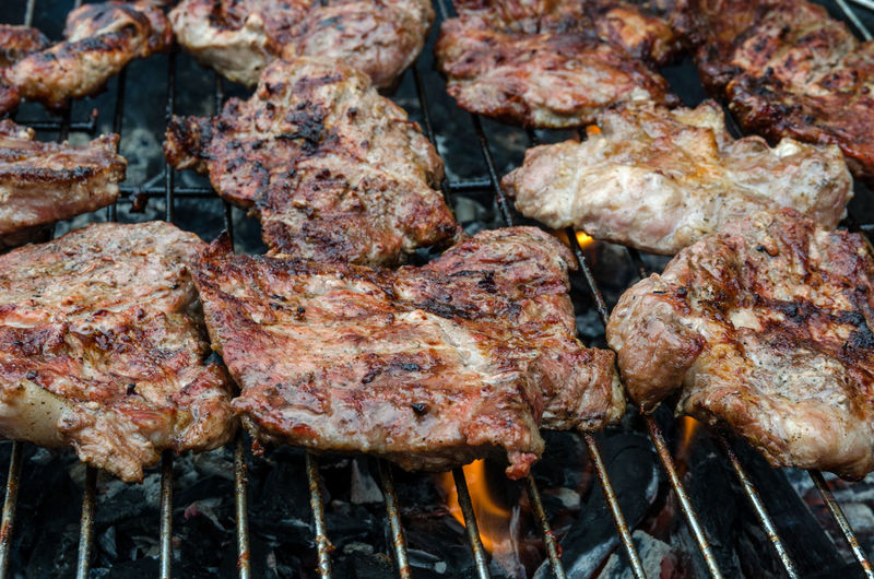 Barbecue Barbecue Grill Beef Char-grilled Close-up Day Food Food And Drink Freshness Grilled Heat - Temperature Kebab Meat No People Outdoors Pork Preparation  Rib