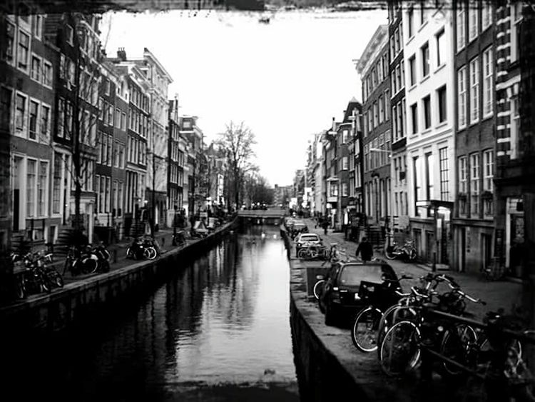 Amsterdam Canal River Day Travel Destinations Sunny Day Black&white City Street Bycicles Houses