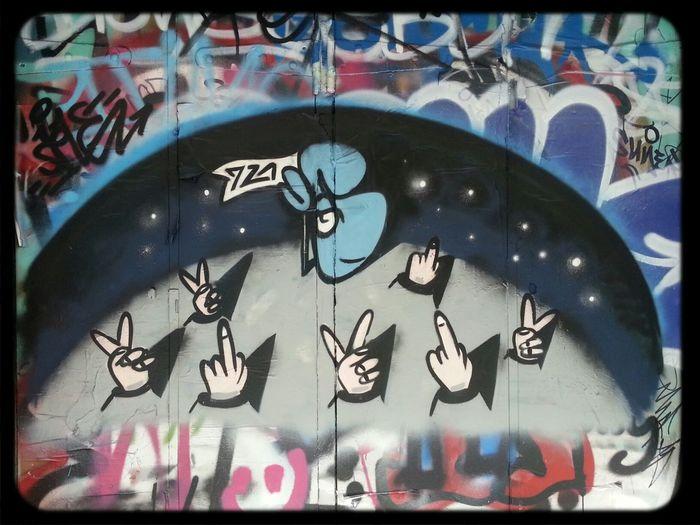 gesturing Hands with Fingers Flipping The Bird Streetart in hosier lane