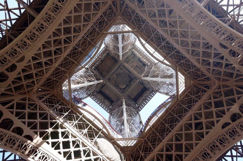 Directly Below Shot Of Eiffel Tower