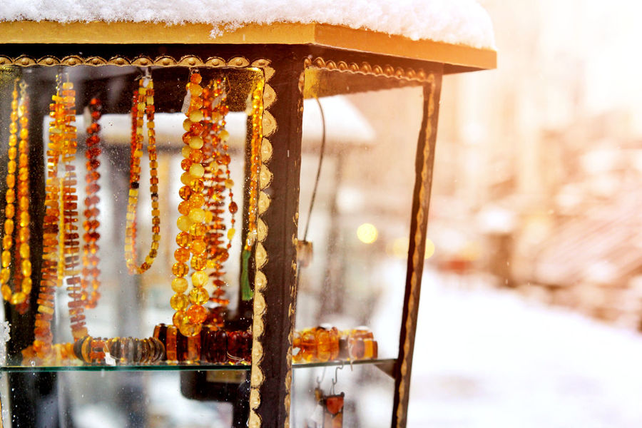 Amber Light Old Town Winter Close-up Cold Temperature Day Jewelry Mariacka No People Outdoors Snow Street Warm