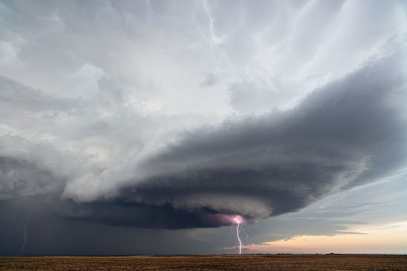 Lightning strikes from a supercell thunderstorm near sublette, kansas.