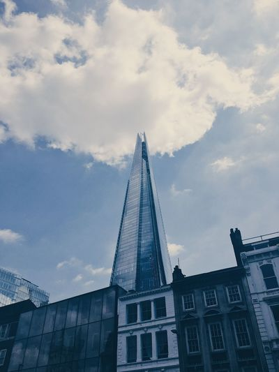 The Shard building, London. Architecture Building Exterior Built Structure City Cloud - Sky Day Low Angle View Modern No People Outdoors Sky Skyscraper Tower Travel Destinations