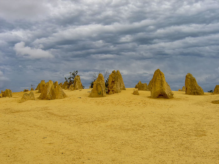 Panoramic view of arid landscape against sky