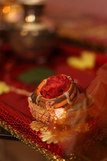 The symbolic sindur ready for use during the pre-marriage rituals. Indianmarriage Sindurkhela BengaliWedding