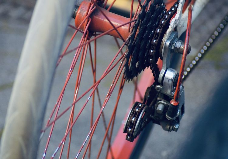 High angle view of bicycles wheel