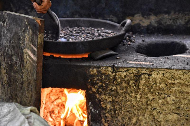 Coffee roasting in Bali Burning Heat - Temperature Fire Fire - Natural Phenomenon Flame Preparation  Firewood