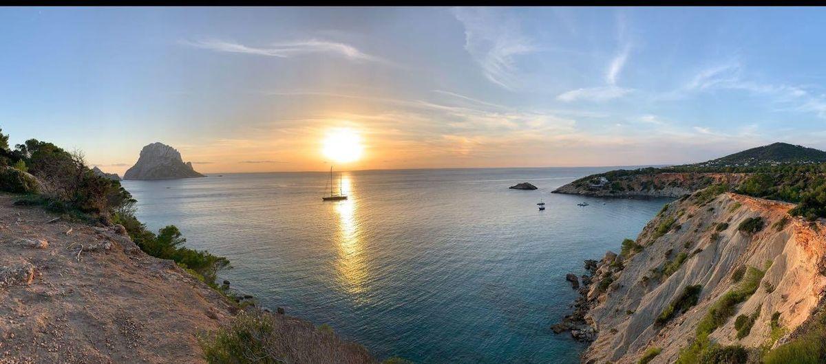 I B I Z A Ibiza Sea Sky Water Beauty In Nature Scenics - Nature Tranquility Tranquil Scene Horizon Over Water Horizon Nature Sun Reflection Outdoors Sunset