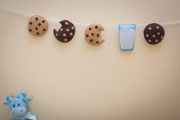 Milk and Cookies Garland Close Up Baby Chocolate Chocolate Chip Cookie Cookies Giraffe Milk And Cookies Nursery Plush Plushie Take A Bite Baby Room  Blank Space Blue Brown Close Up Craft Food Glass Of Milk Indoors  Kid Kids Room Milk Wall Decorations White