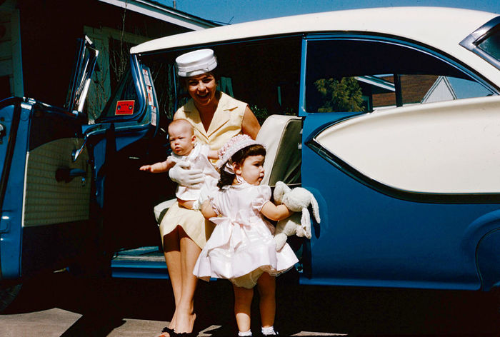 1958 Pill Box Hat Easter dress 1958 Dress Easter Pill Box Hat Car Child Childhood Daughter Emotion Family Family With One Child Females Front View Full Length Men Mode Of Transportation Mother Motor Vehicle Parent Pill Box Hat Real People Son Togetherness Transportation Women