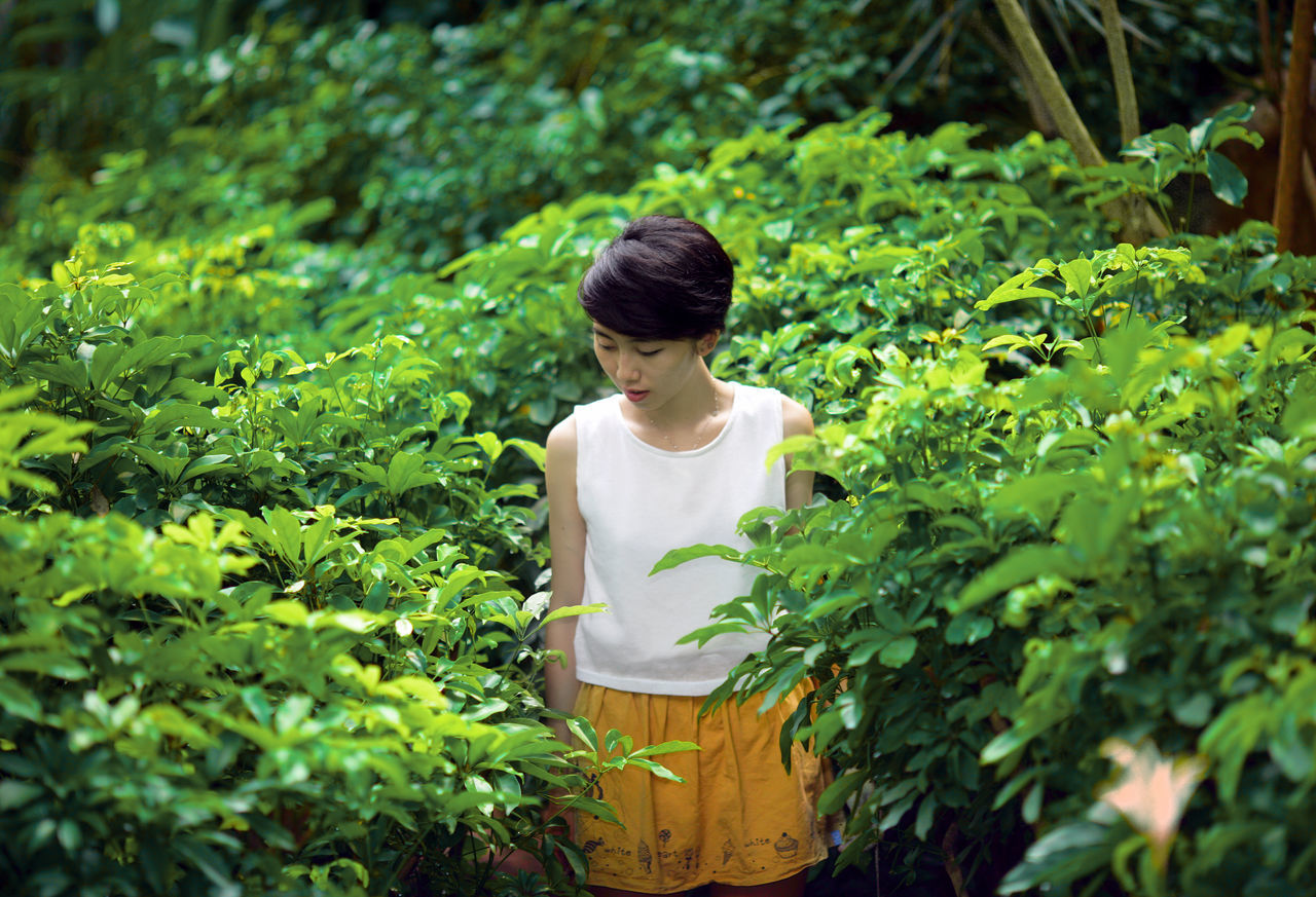 Woman standing amidst plants