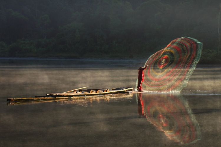 """"""" Fisher Man """" Water Lake Reflection Fishing Net Adult Nature Nautical Vessel Adults Only Outdoors People One Person Fisherman Occupation"""