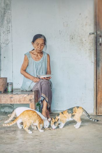 Senior woman looking at cats eating food on floor at home