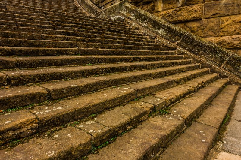 Middle aged stairs to dreamland Architecture Architektur Originalla Structure Builded Stone Mittelalter Stufen Treppen Patina Castle Oldschool Stairs Stages Clear Land Pattern Field High Angle View Agriculture No People Nature