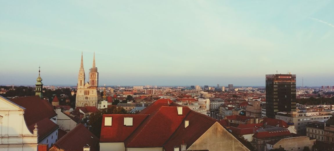 Cityscape City Architecture Building Exterior Travel Destinations Urban Skyline Sky High Angle View Skyscraper City Life Built Structure Day Outdoors Downtown District No People Sunset Zagreb View Viewpoint Ilovezagreb e Eurotrip Croatia