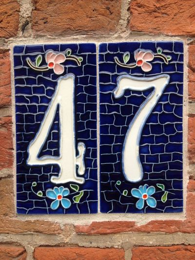4 43 Golden Moments 47 Architecture Brick Wall Building Exterior Built Structure Day Decorative Number Decorative Number Tile Forty Se Fortyseven Fourty Seven House Number House Number Tile No People Number Ticktock Outdoors