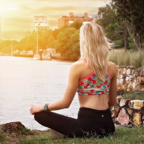 Brisbane River Back View Blond Hair Blonde Blonde Girl Brisbane River Casual Clothing City Escapism Leisure Activity Lifestyles Meditating Person Real People River Riverside Sitting Woman Young Adult Young Woman