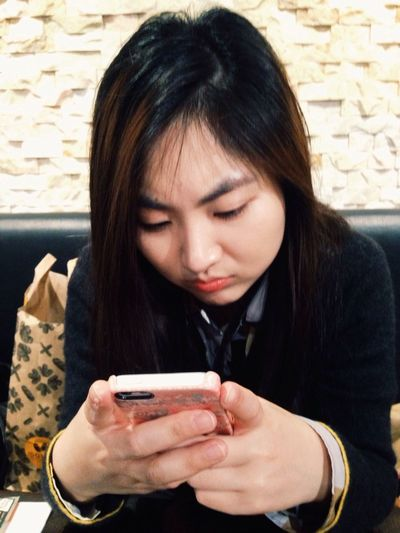 So busy texting. Little business woman