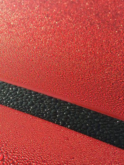 Dew Drops Dew Red Black Car Rain Raindrops Sunshine Sunny Day Morning