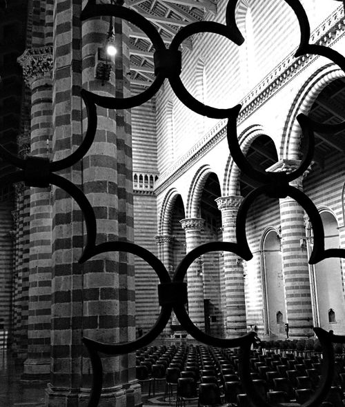Architecture Black & White Building Interior Church Columns And Stone Duomo Orvieto Ornate Pattern Religion Viewpoint