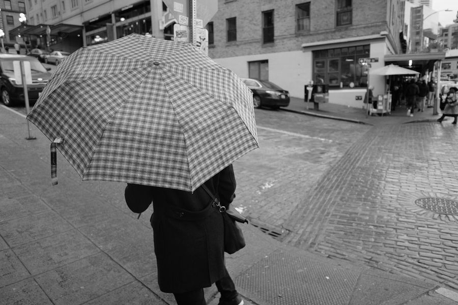 Umbrella at Pike Place Architecture Street Incidental People Protection City Life Walking Rainy Season Wet
