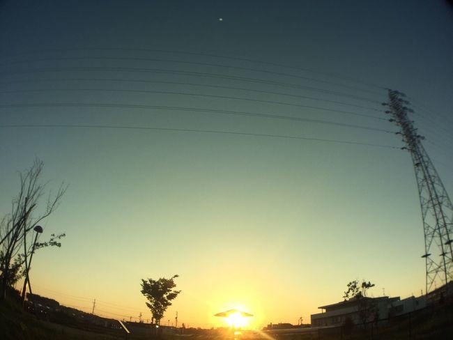 夕陽 Sunset 空 Sky 電線 Electric Wires 鉄塔 Pylon