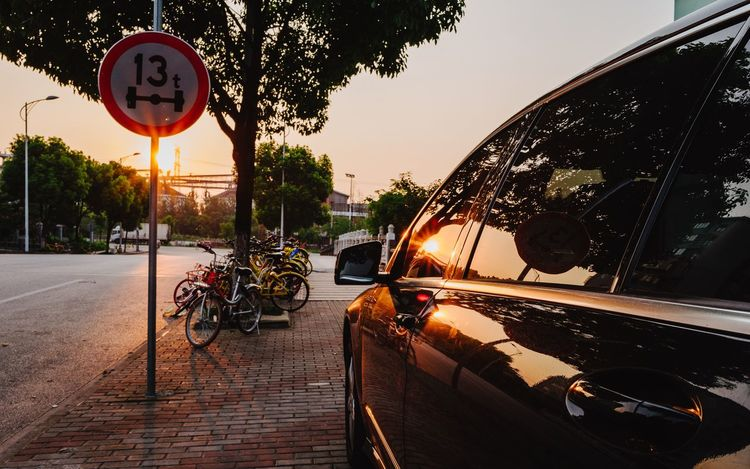 Car Transportation Road Sign Tree Land Vehicle Mode Of Transport Outdoors Sunset Road No People Sky Communication