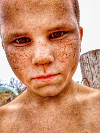 Канопатый парнишка. Portrait Headshot Childhood Human Body Part Outdoors Human Eye Only Women Young Adult Human Face Looking At Camera Front View One Woman Only Shirtless Child Adult Day People One Person Close-up First Eyeem Photo