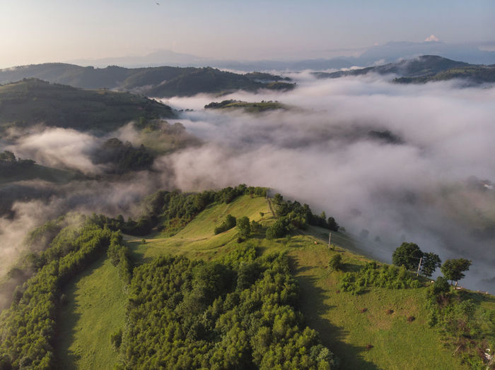 High angle view of land against sky