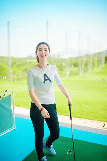Portrait She Beauty Relaxing Hanging Out Golfing