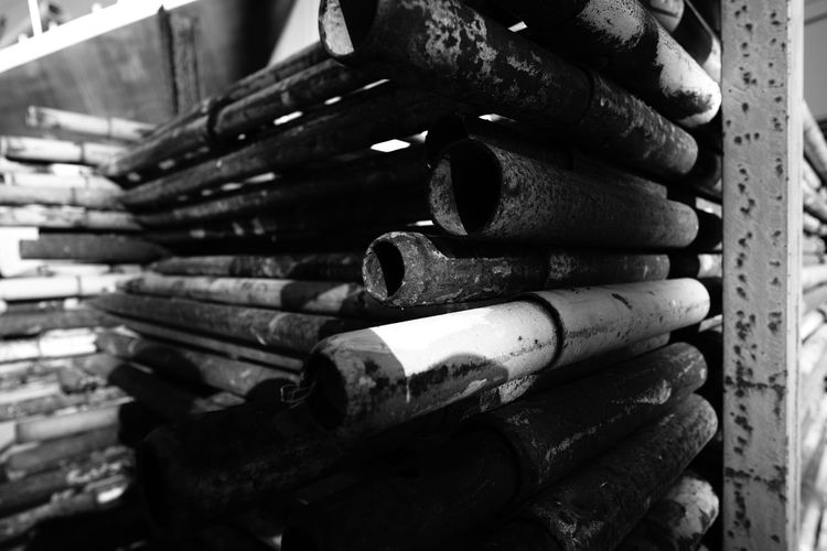 Close-up of rusty metal pipes