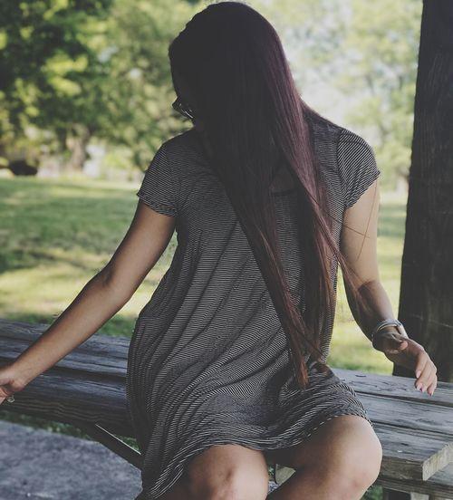 Long Hair Sitting Love Three Quarter Length One Person