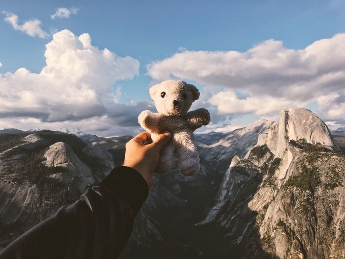 Cropped Hand Of Person Holding Teddy Bear Over Mountains At Yosemite National Park