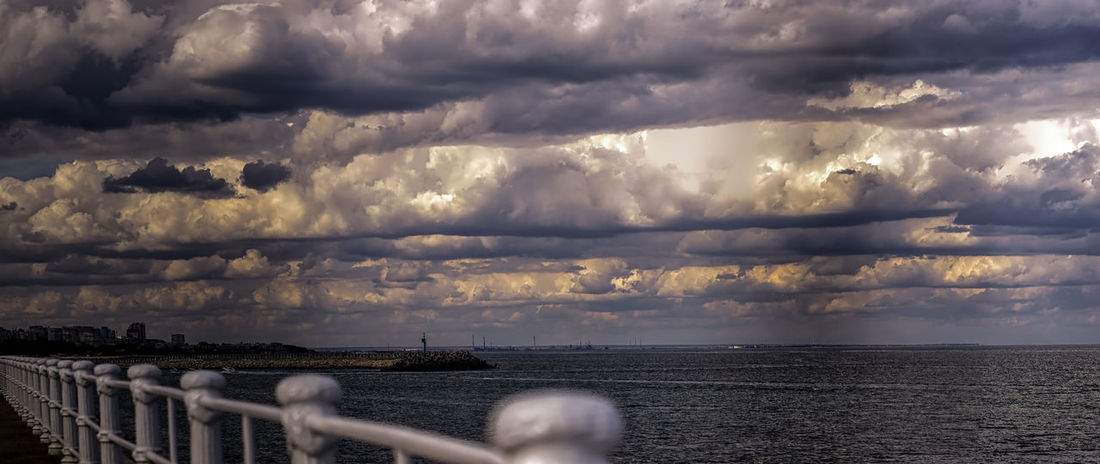 Beauty In Nature Cloud - Sky Cloudscape Horizon Horizon Over Water Idyllic Nature No People Ominous Outdoors Overcast Power In Nature Railing Scenics - Nature Sea Sky Storm Storm Cloud Tranquil Scene Water