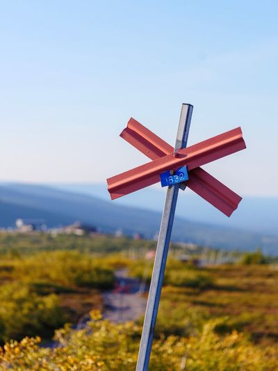 Trail marker Mountains Summer Hiking Trail Hiking Sälen Scandinavia Sweden Trailmarker Trail Sky Nature No People Cross Field Day Blue Clear Sky Outdoors Environment Landscape Focus On Foreground Beauty In Nature