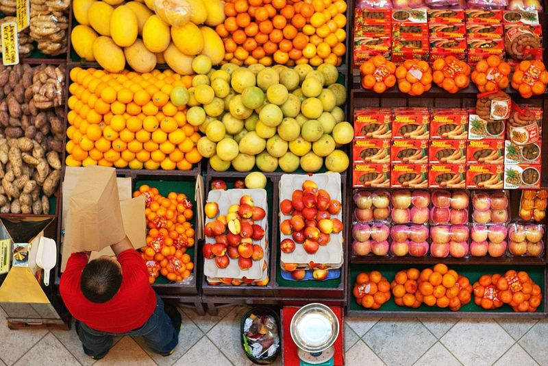 Fruits Fruit Stand Fruit Stall Shapes Circles Vendor Overhead Colored
