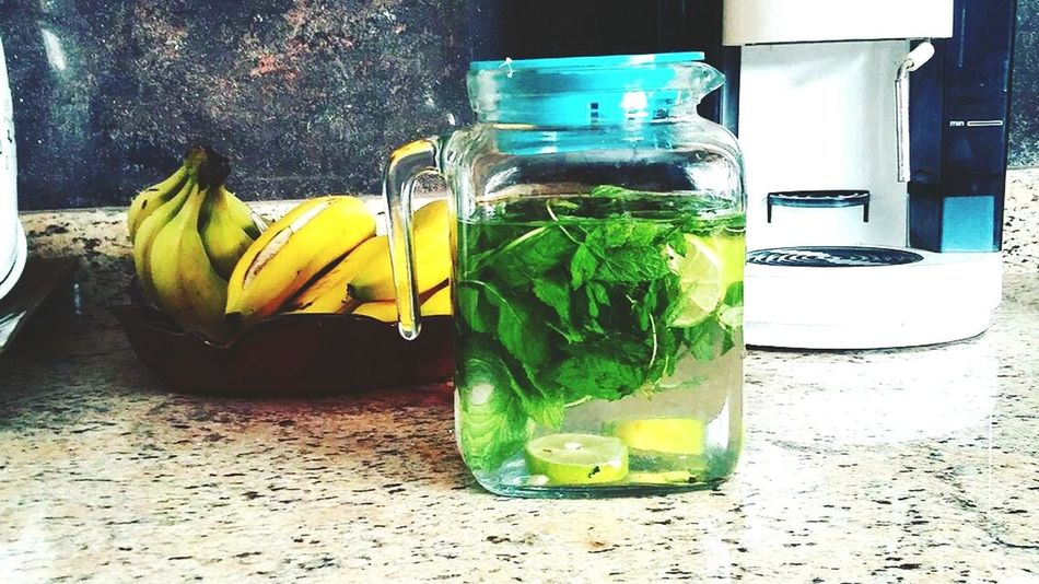 Healthy Eating Banana Food And Drink Refreshment Mint Leaf - Culinary Drinking Straw Citrus Fruit Fruit Detox Menthe