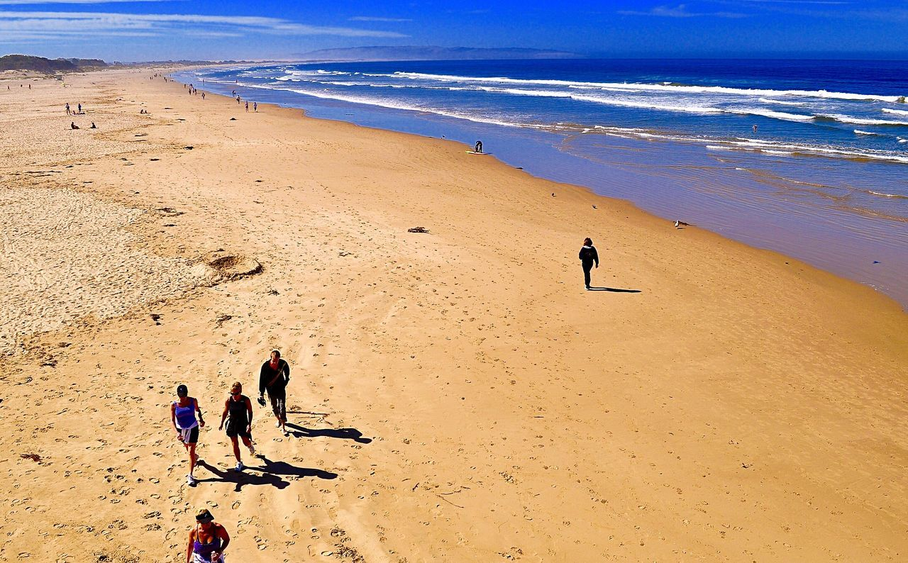 beach, sand, sea, nature, walking, leisure activity, sunlight, real people, sand dune, sky, summer, outdoors, full length, lifestyles, day, vacations, togetherness, beauty in nature, scenics, horizon over water, landscape, sport, people, adult, adults only