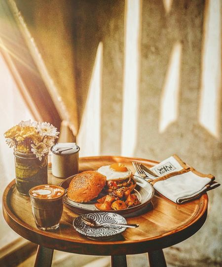 View of breakfast served on table