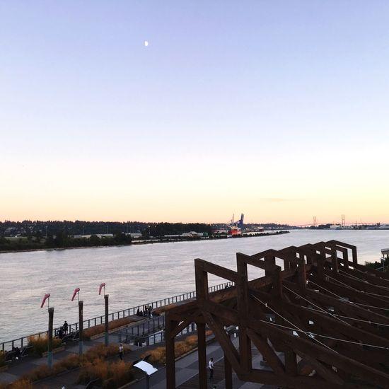 Sunset at Pier Park Alex Fraser Bridge Fraser River Delta