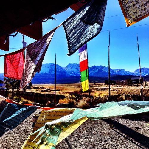 Flag Patriotism Sky No People PrayerFlags Tibetan  mountains Idaho