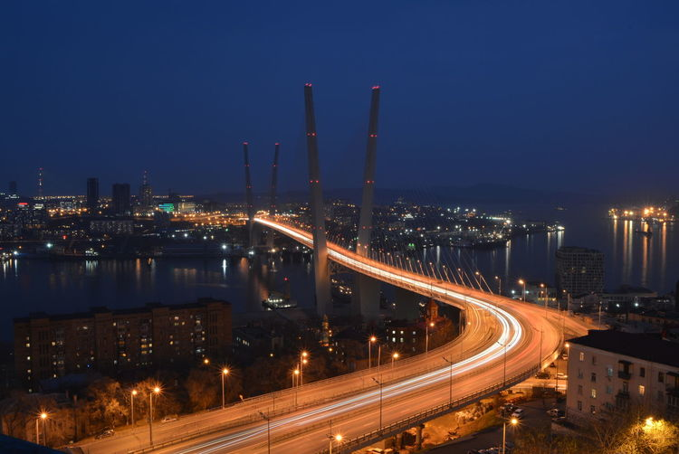 Russia Vladivostok City Cityscape Illuminated Road Long Exposure Light Trail Smoke Stack Street Light Industry Business Finance And Industry Tail Light