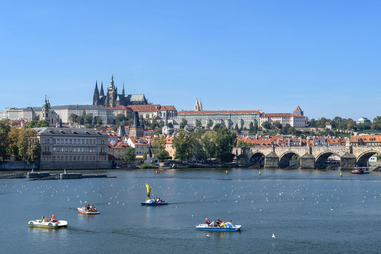 View of Prague castle from the right river bank Architecture Building Exterior Built Structure Water Nautical Vessel Transportation Sky Mode Of Transportation Travel Building City Day Nature Waterfront Travel Destinations Religion Tourism River Place Of Worship Outdoors