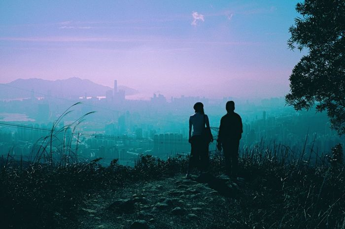 Two People Real People Sky Men Beauty In Nature Rear View Nature Leisure Activity Fog Standing Scenics Silhouette Togetherness Landscape Mountain Outdoors Women Tree Hazy  Adults Only HongKong Kowloon Peak Hiking City BYOPaper!