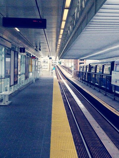 Paint The Town Yellow Transportation Railroad Station Platform Railroad Station The Way Forward Railroad Track Rail Transportation Public Transportation Indoors  Illuminated No People Day Subway Train Newwestminster Translink Train Station