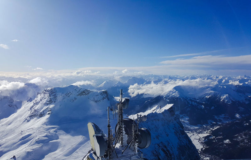 mountain snow landscape wintertime cold sky blue ice nature Blue Outdoors Mountain Day Nature Aerial View Snow