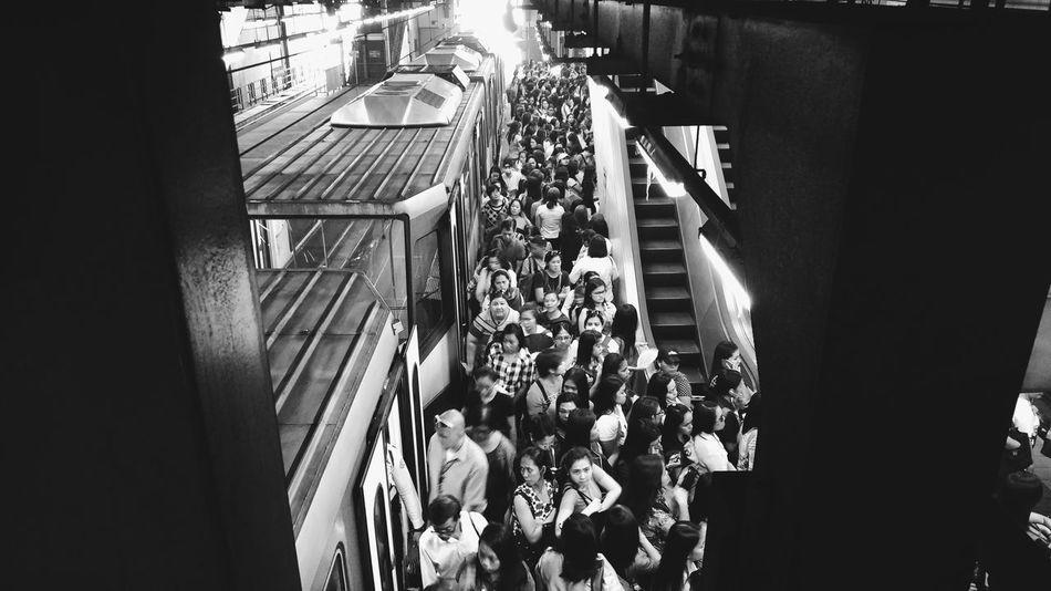Train Urban Crowd Mrt Philippines Indoors  Day Black & White Blackandwhite